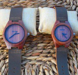 pack reloj de madera indiana mujer - hombre 1